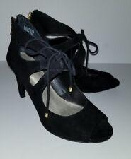 ANA black Faux Suede Lace Up Oxford Peeptoe Heels Pumps. 6