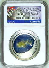 ER! 2016 Australia 1oz Silver Domed Cassiopeia $5 NGC PF70 Northern SKY ER Coin