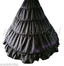 BLACK 4-HOOP BRIDAL WEDDING GOWN DRESS HALLOWEEN COSTUME PETTICOAT SKIRT SLIP