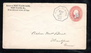 1884 Fancy Cancel West Plains Bank, MO. May 31st, Sc#U231 to Hartford, Conn.