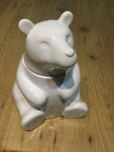 WEST ELM White Ceramic Figural BEAR Cookie JAR