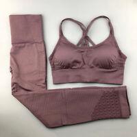 2 Piece Seamless Leggings Crop Top Set Gym High Waist Run Pants Yoga Shark Women