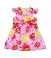 Girl RARE EDITIONS Pink Floral Flutter Sleeve Poplin A-line Easter Dress Size 2T