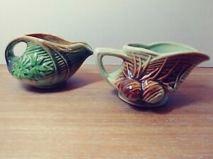2 McCoy Creamer Pitcher Daisy and Pinecone  Pattern Vintage American Pottery