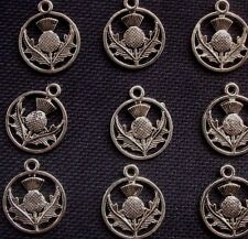 10  Scottish Highland Thistle Charms Silver Tone Metal