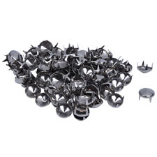 100 Silver Tone 10mm Round Conical Studs Spots Punk Rock Nailheads Spikes K4P3
