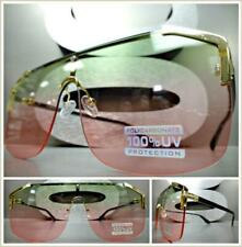 76e662a7ab Grande Lujo Retro Estilo Escudo Gafas de Sol Armazón Dorado Raro Verde y  Rosa