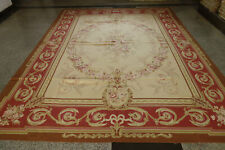 Elegant Beautiful Burgandy Cream Roses Gold Swirls Hand Woven Aubusson Wool Rug