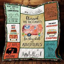 Camping Quilt Blanket, Adventure Lover Quilt Blanket, Camping Quilt Blanket