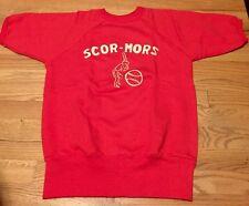 Vintage 60s SCOR-MORS Baseball Hanesport 100% Cotton Short Sleeves Sweatshirt.