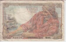 FRANCE BANKNOTE P100-W.86 20 FRANCS L.15=4=1943,  VG-F