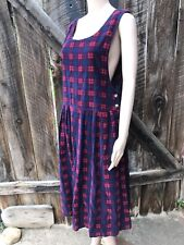 Vintage Fads Corduroy Plaid Jumper Overall Dress Sleeveless Open Arms Small 90s
