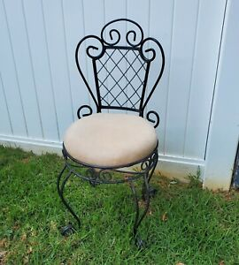 """Wrought Rod Iron Vanity Bench Vanity Chair 32"""" high x 14 wide goth french"""