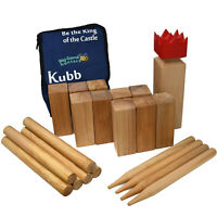 Big Game Hunters Kubb Hardwood Viking Chess Skittles type Game with carry bag