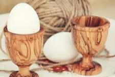 Unique Rustic Olive Wood Egg Cup Set, Hand-carved wooden egg holder set
