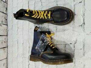 Doc Martens 1460 Pascal Black Yellow Lace Leather Boots MENS 7 WOMENS 8