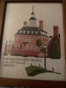 Vintage Williamsburg Virginia Governor's Palace Cross Stitch And Framed