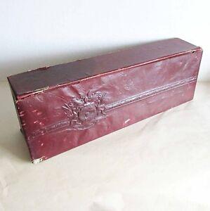 """Embossed 1940s Leatherette Dresser Storage Necktie Glove Box 17.5"""" Big FREE SH"""