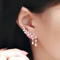 Silver Pltd Crystal Leaf Ear Cuff Climber Crawler Stud Earrings Pretty lskn