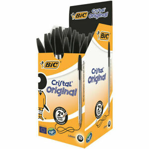 (BLACK, BLUE & RED OPTION) Buy 1 to 50, BIC Cristal Medium Ball Point Pens Biros