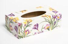 Crocus Flower Tissue Box Cover Rectangular wooden handmade in UK