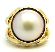 14K Yellow Gold 12.5 mm Round Mabe Pearl Ring Size 5.5 / 7.7 Grams