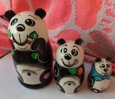 "WOOD  RUSSIAN NESTING DOLL    panda 3  PCS  5""  inches"