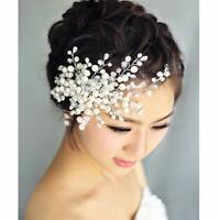 Charm Bride Crystal Pearl&Rhinestone Headpiece Bridal Wedding Hair Comb R8F3