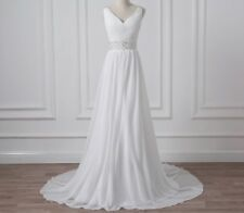 UK Chiffon White/Ivory Reg/Plus Sz Appliqué Wedding Dress Bridal Gown Size 8-26W
