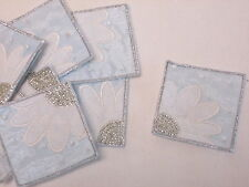 Set of 10 - White Embroidered Daisy Flower Patch Motif Card Making Crafts#16D120