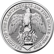 2019 U.K. 5 Pound Silver Queen's Beast Falcon of the Plantagenets .9999 2 oz BU