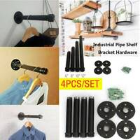4pcs/Set Industrial Pipe Clothes Hanger Clothes Rail Hanging Rail Wall Mounted