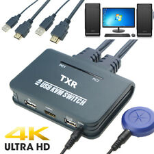 HDMI KVM Switch Button Switcher USB Port With Cable For Monitor Keyboard Mouse