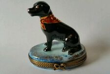 Chamart Limoges Hand Painted Black Labrador Retriever Sitting on Trinket Box