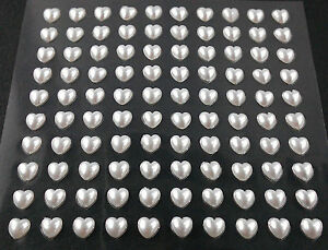 selbstklebende Halbperlen Herzen 6 x 6 mm weiß