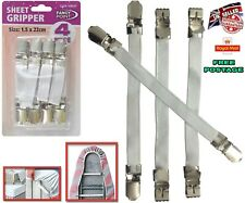 4pc Sheet Grippers Straps Fasteners Hold Grips Elastic Chrome Clips Gripper