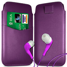 CARD SLOT PU LEATHER PULL FLIP TAB CASE COVER POUCH & EARPHONES FOR APPLE PHONES