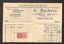 "PARIS (XI°) CARTONNAGES / CARTONS D'EMBALLAGE ""A. BARBERY"" en 1948"