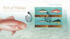 Tokelau 2012 FDC Fish 4v Sheet Cover Yellowfin Tuna Ruby Snapper Wahoo