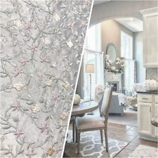 100% Silk Embroidered Taffeta Fabric - Floral Gray Pink Floral