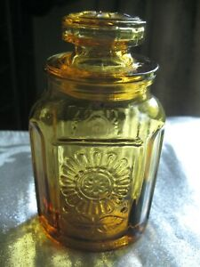 """VINTAGE AMBER GLASS WHEATON LIDDED SPICE APOTHECARY JAR EMBOSSED SUNFLOWER 3.5""""T"""
