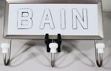 POTTERY BARN BAIN BATH BATHROOM WALL HANGING HOOKS 3 Satin Nickel White Ceramic