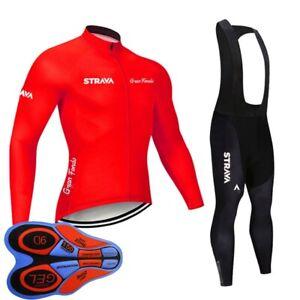 Mens Cycling Long Sleeve Jersey Bib Pants Set Road Bike Clothing Bicycle Uniform