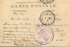 CP / ASPECT DE LA BASSEE  / CACHET TRESOR ET POSTES 96 / PARIS 1915