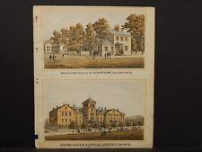 Pennsylvania Beaver County Map College Musical Intitute Engravings 1876 Q4#80