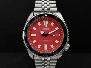 SEIKO DIVER 7002-700J STUNNING RED FACE MODDED AUTOMATIC MENS WATCH 210365