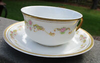 J&C BAVARIA Teacup & Saucer Gold Gilt Trim Pink Roses pattern Vintage Vtg China