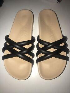 J.Crew Pacific Cushy Leather Slide Sandals Puffy Straps Black Sz 7.5 New