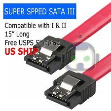 "15"" SATA 3.0 Cable SATA3 III 6GB/s Right Angle Serial ATA SSD Hard Drive Red"