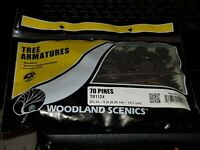 "OO gauge Woodland Scenics TR1124 2 ½ - 4"" bendable Tree Armatures 70 Pines"
